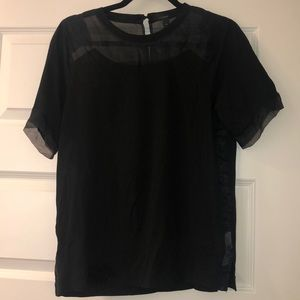 Black J.Crew T-Shirt with Tulle Detail